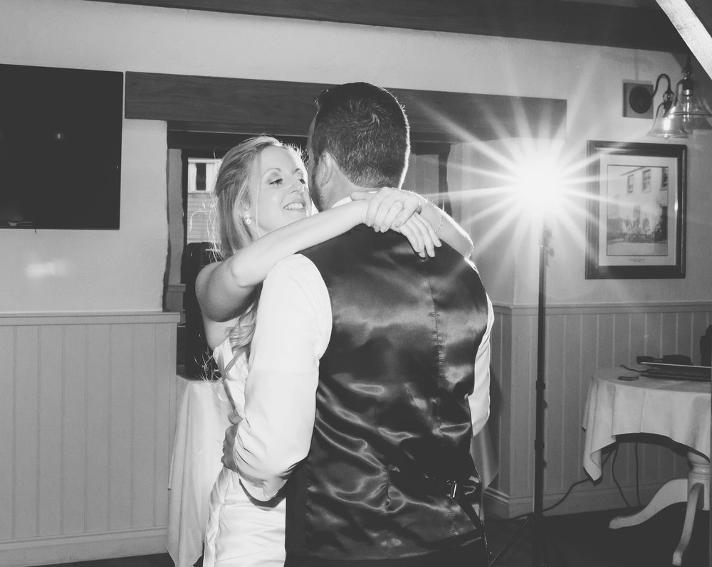Black and white photography of the bride and groom on the dance floor