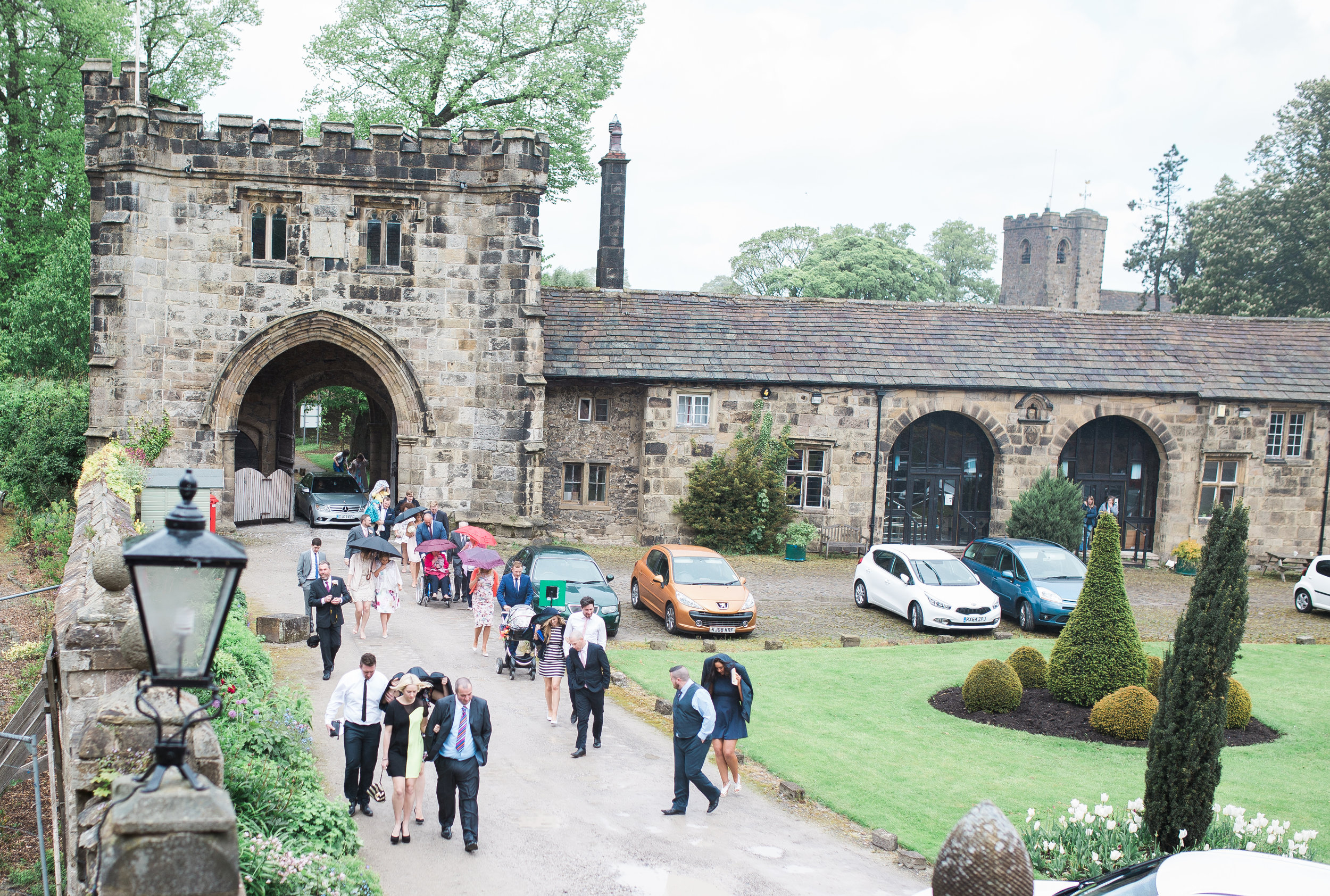 guests arrive at Whalley Abbey Wedding