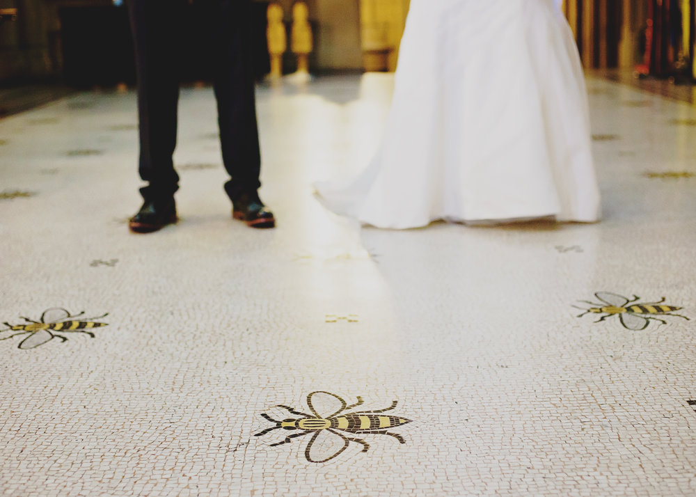 Bees on the floor at Manchester Town Hall- Creative fun interior, wedding