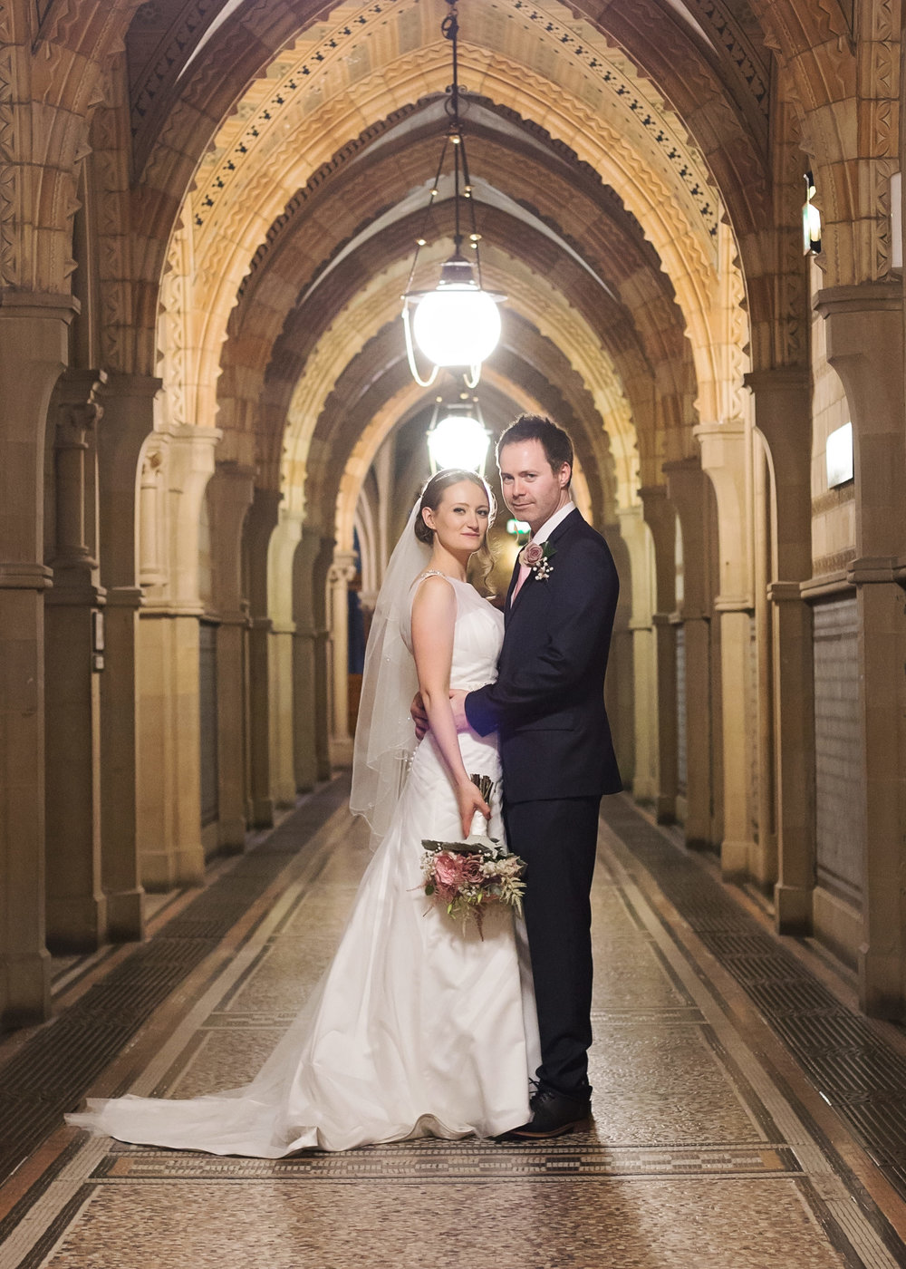 The bride and groom portrait at Manchester Town Hall- Relaxed wedding photographer