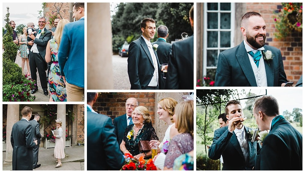 Collage of the groom waiting for his bride-documentary styled wedding photography for the Wedding at Willington Hall Hotel