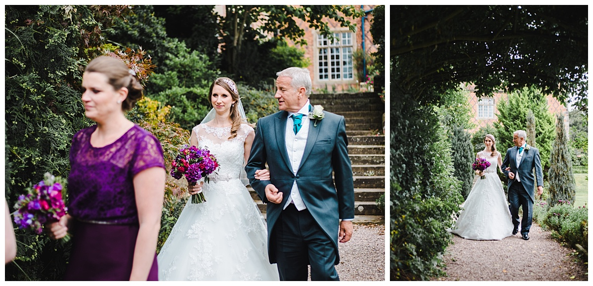 bride arrives for outdoor ceremony at Willington Hall