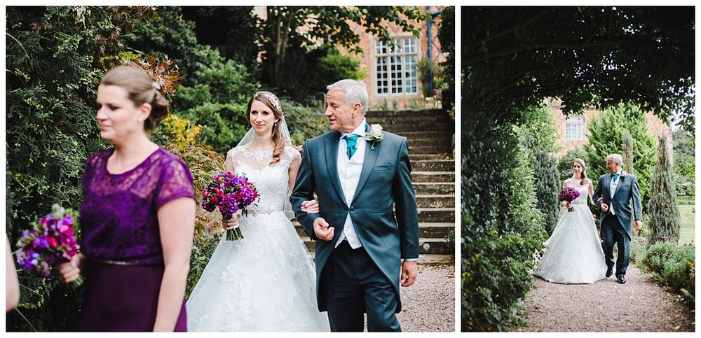 The bride set to walk down the aisle for her wedding at wellington hall hotel- Wedding photography in cheshire, relaxed and modern