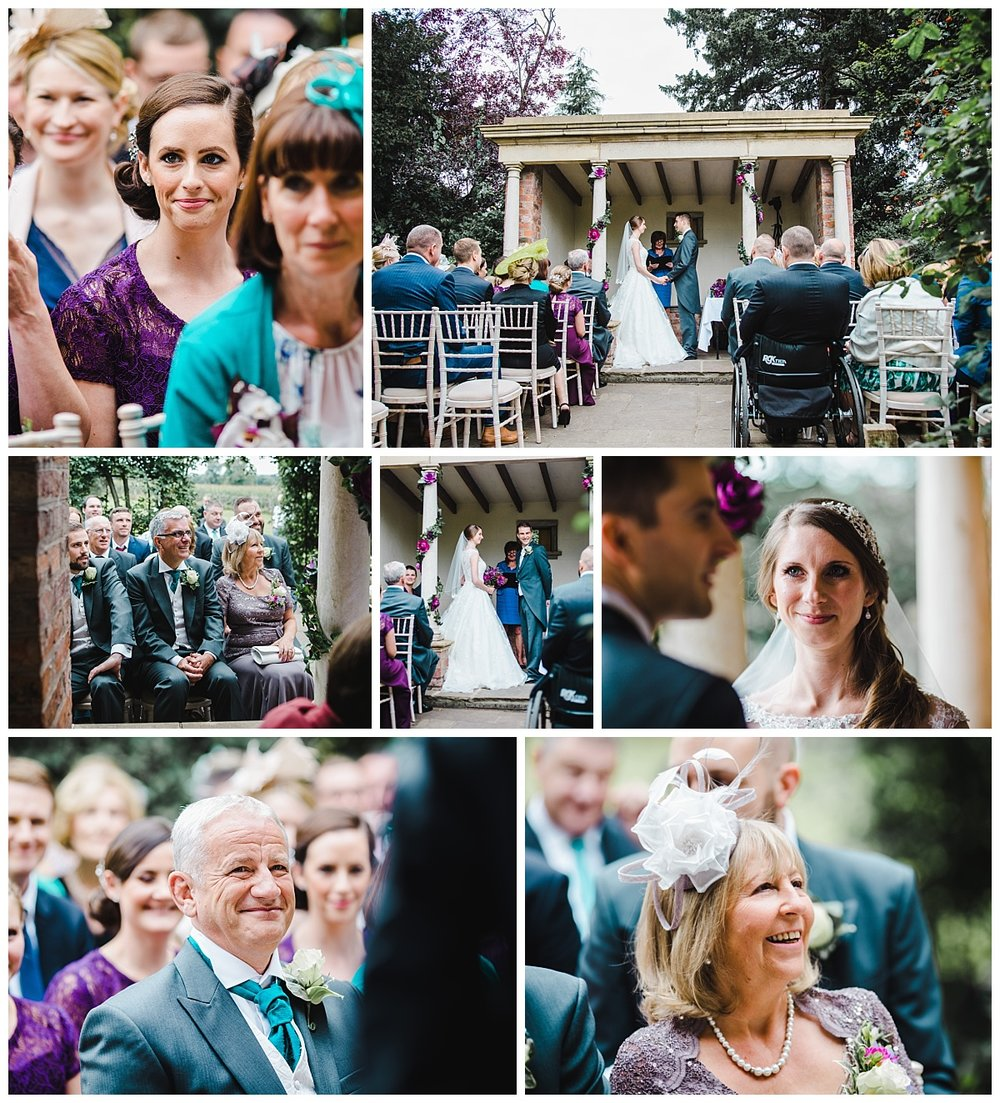 wedding guests during the wedding ceremony- Collage wedding photographs in cheshire