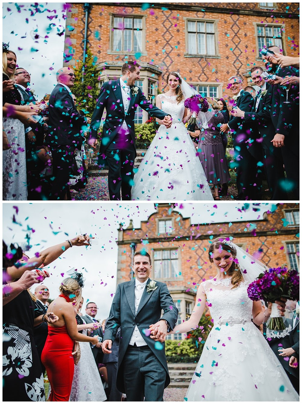 Confetti full of air as the bride and groom walk- Happy wedding gphotogprhay for the Wedding at Willington Hall Hotel