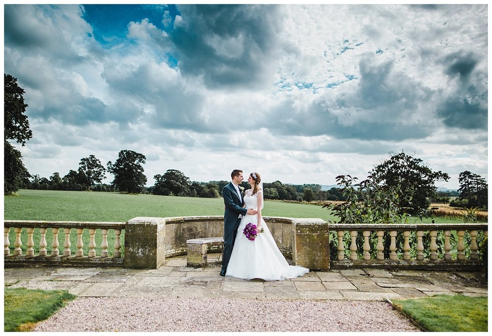 the bride and groom outside of wellington hall hotel- Documentary styled wedding photography in cheshire