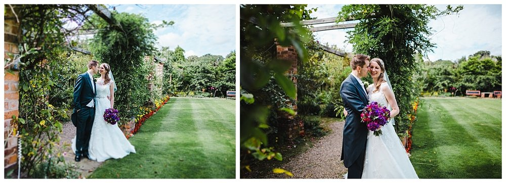 the bride and groom in the grounds of wellington hall hotel- Relaxed wedding in cheshire