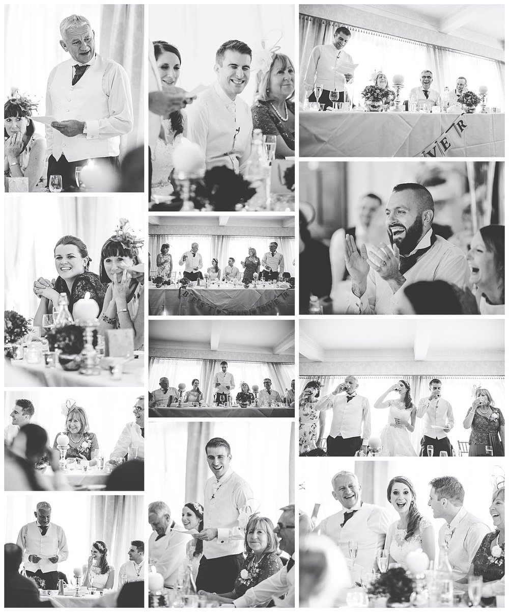 Black and white collage of the wedding guests during the wedding meal- Documentary wedding photography