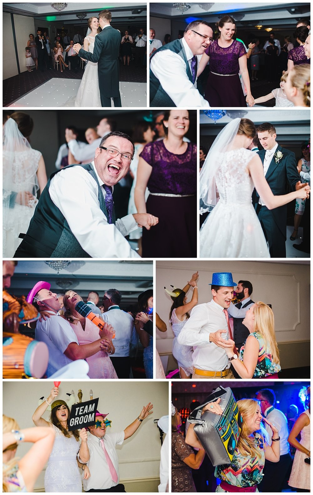 the wedding guest on the dance floor- creative documentary wedding photography of theWedding at Willington Hall Hotel