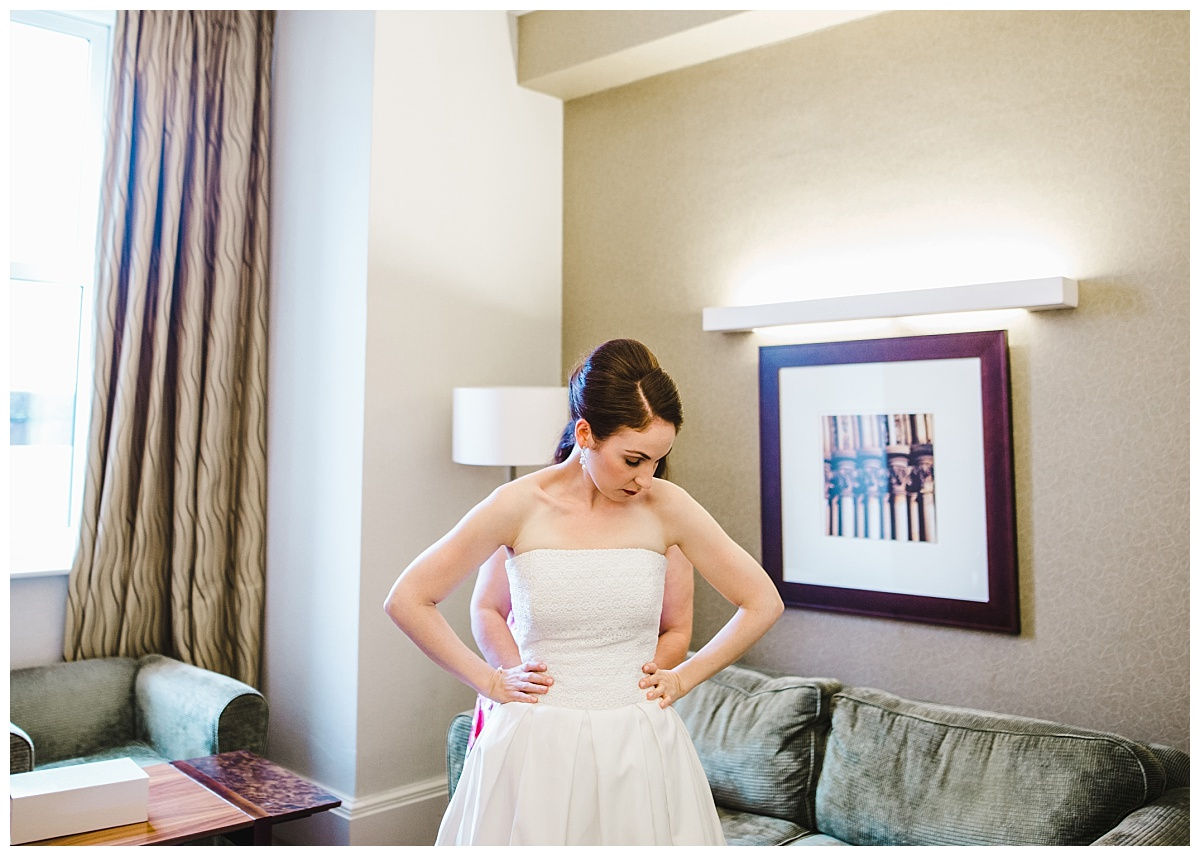 bride gets dressed at midland hotel manchester