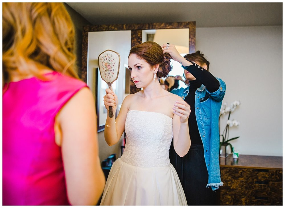 bride having her hair done - manchester wedding photography