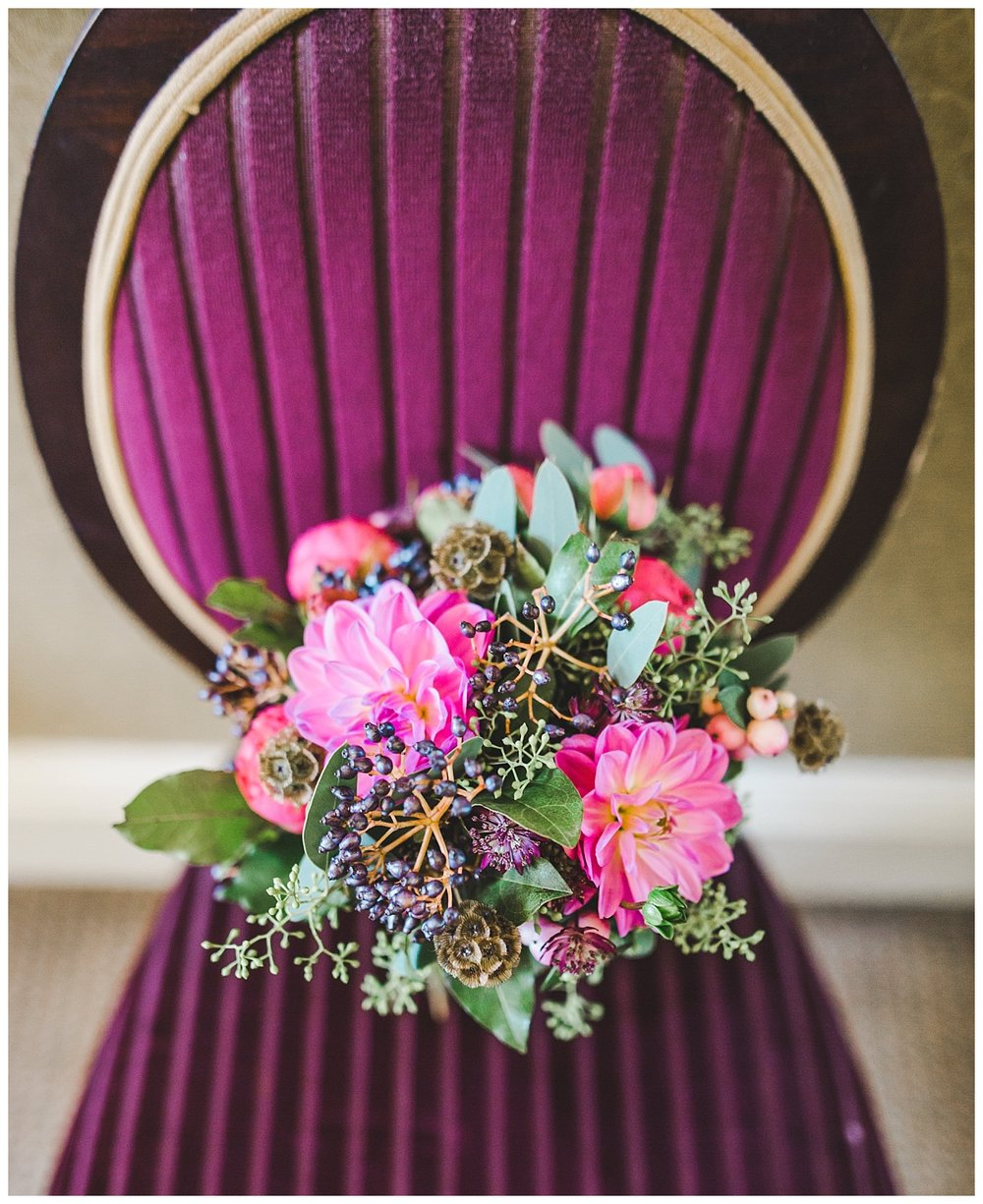 The bridal bouquet at Manchester town hall for the wedding ceremony- Creative wedding photography