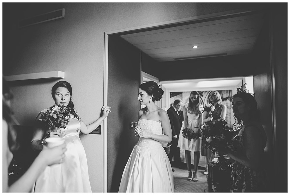 Black and white photograph of the bride and her bridesmaids- Documentary wedding photography in manchester