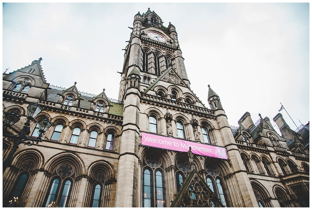 Exterior of the manchester town hall, Creative wedding photography