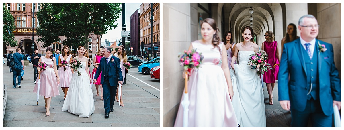 bride and her bridesmaids walk to manchester town hall