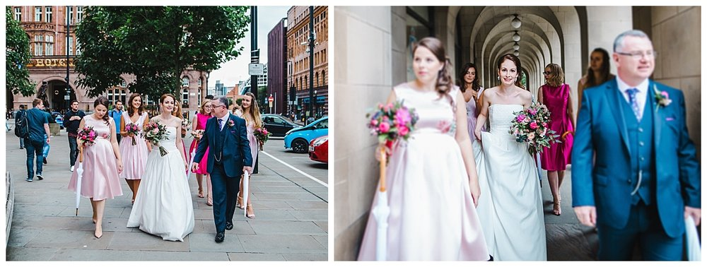 bride and her wedding party walking to the wedding ceremony in manchester
