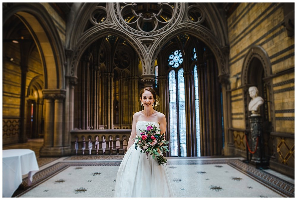 The bride inside the manchester town hall waiting to walk down the aisle- Creative wedding photography in manchester