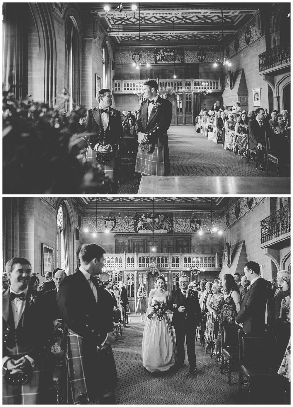 Walking down the aisle - manchester town hall wedding photography