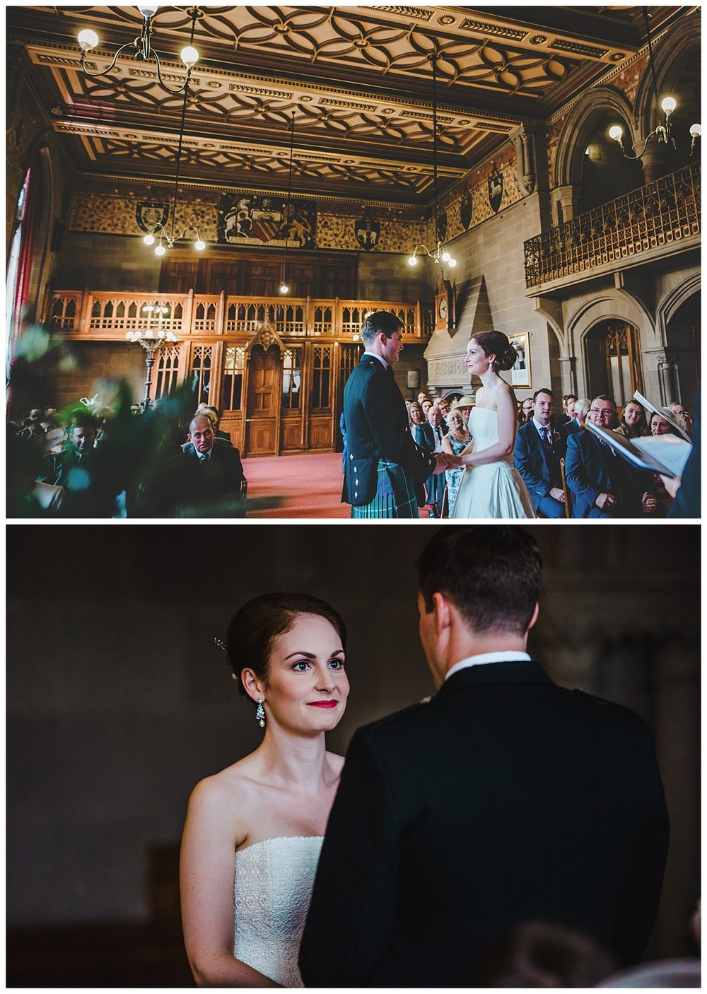 Bride and groom saying their vows - manchester town hall wedding ceremony.
