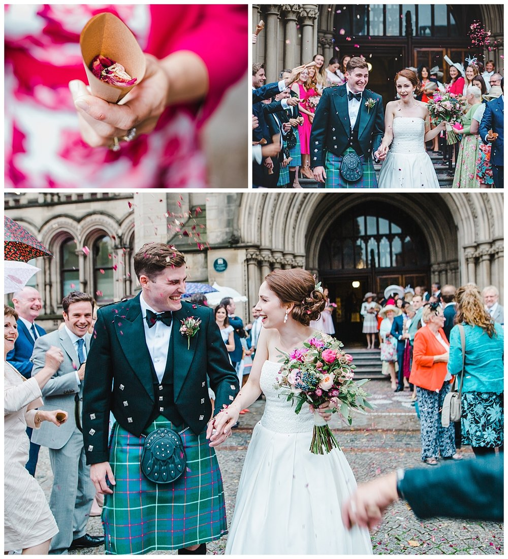 Confetti throwing after the wedding ceremony at manchester town hall