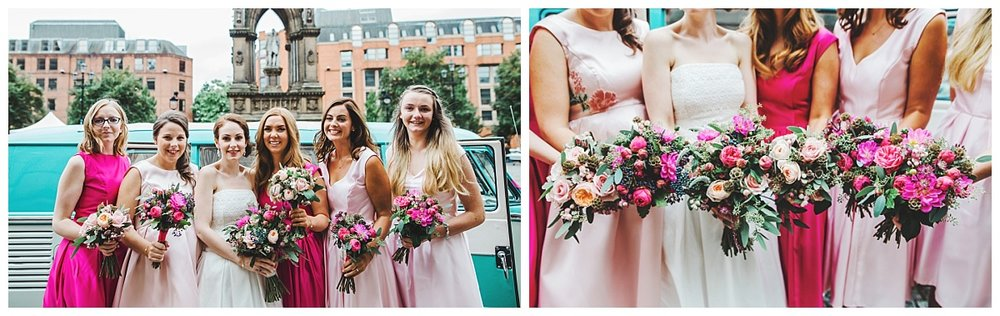 Bride and bridesmaids outside the town hall -  colourful wedding theme