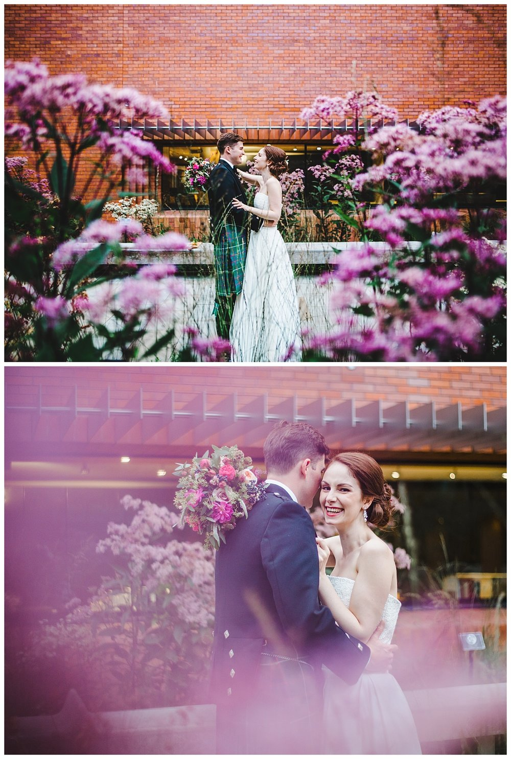 The bride and groom outside of Whitworth Art Gallery- Creative wedding photography