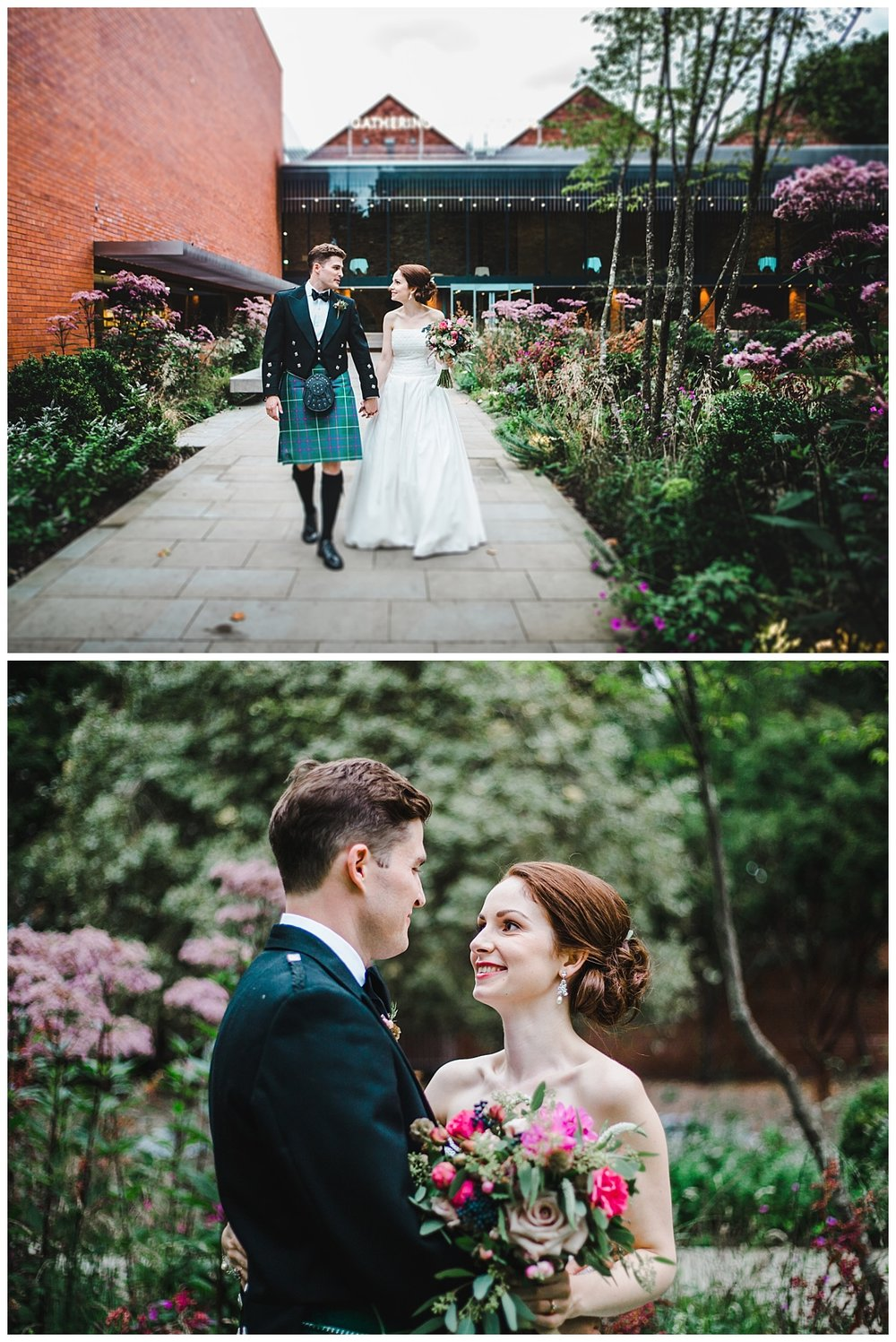 modern and relaxed images of the bride and groom at the Whitworth Art Gallery