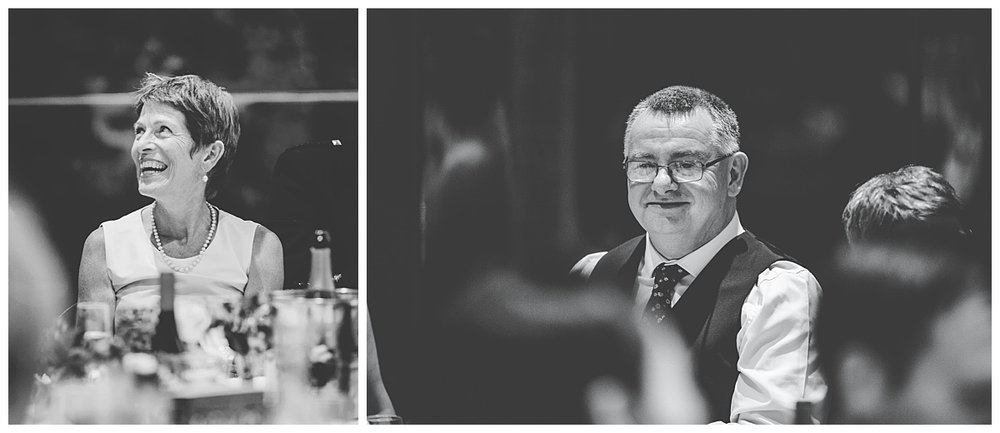 Black and white photographs of wedding guests- creative wedding photography at Whitworth Art Gallery