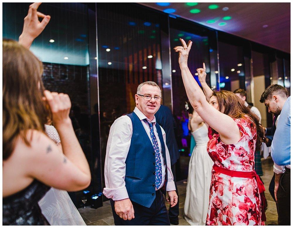 Dancing on the dance floor- Creative wedding photographer at Whitworth Art Gallery