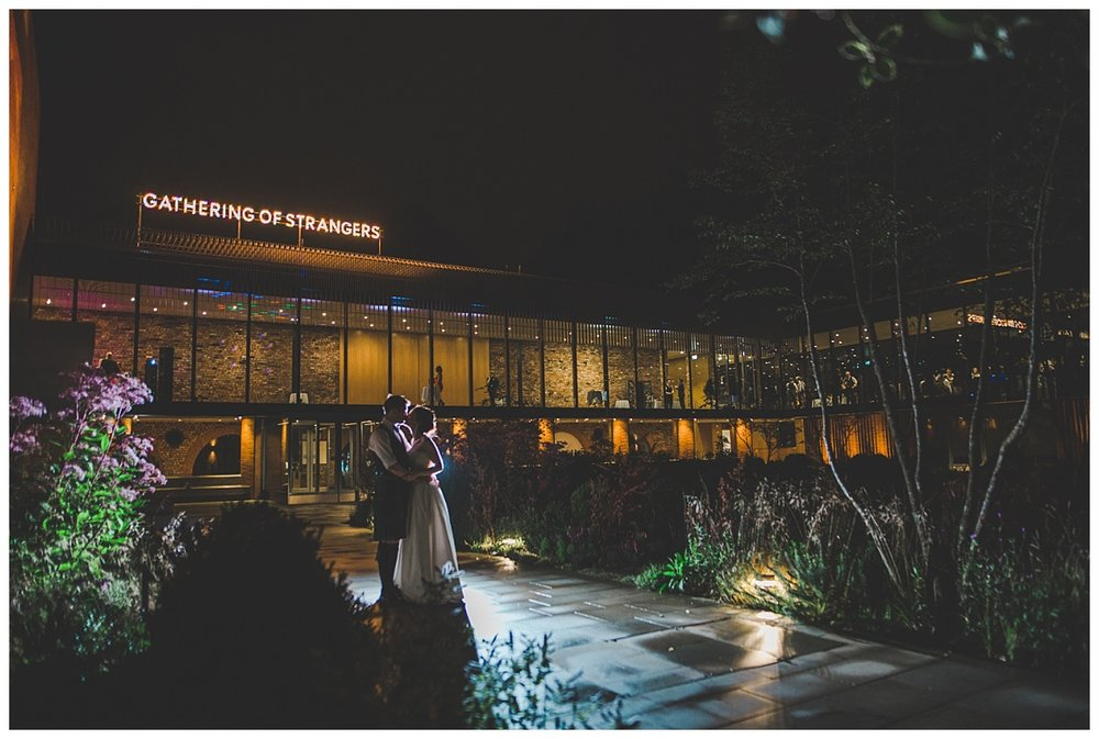 The Whitworth Art Gallery at night, creative wedding photographer - Manchester wedding