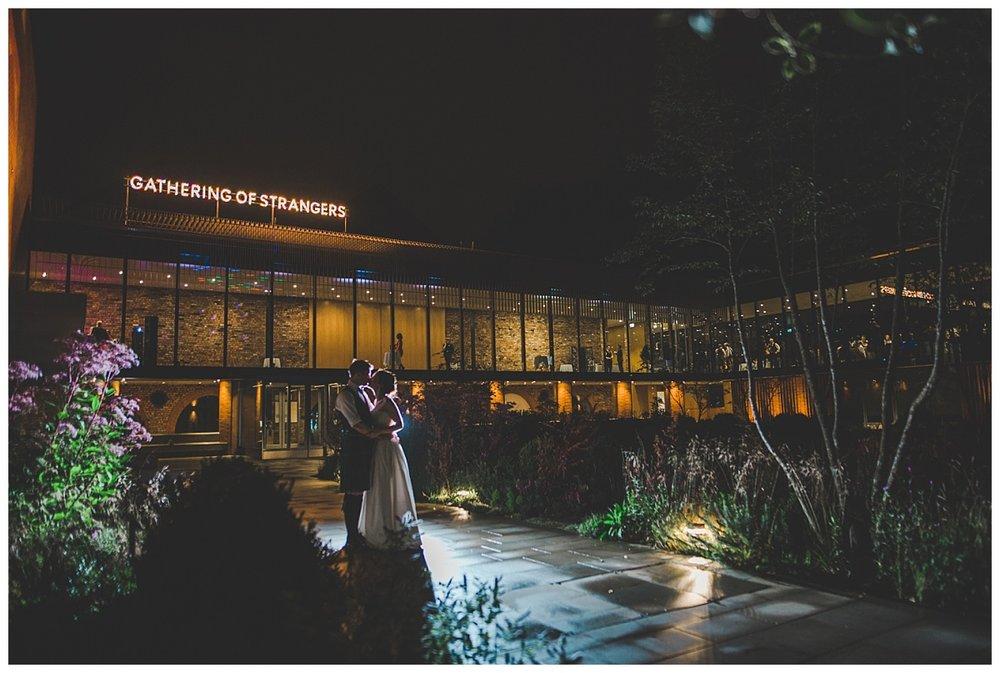 The Whitworth Art Gallery at night, creative wedding photographer - Manchester wedding