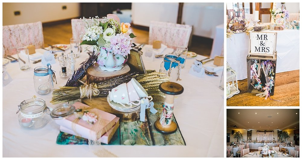A collage of the table arrangements for the wedding at beeston manor