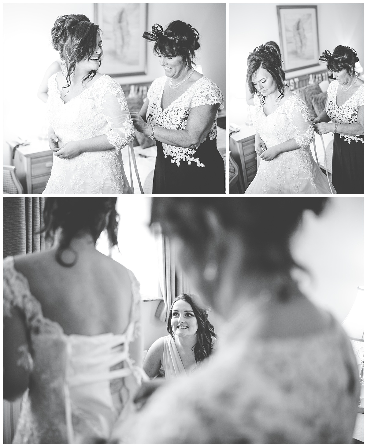 bride gets dressed at Beeston Manor