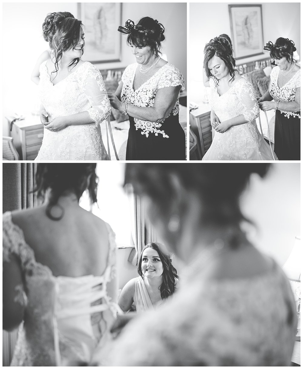 Collage of the bride getting ready- Black and white wedding photography