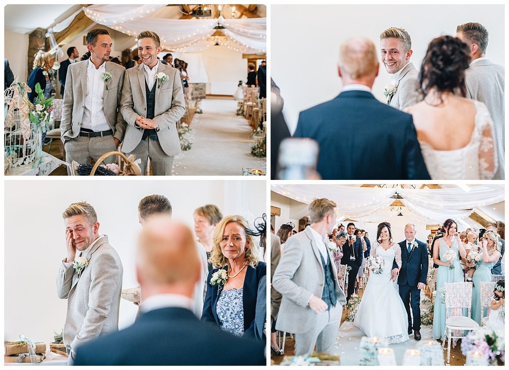 Collage of the bride walking down the aisle- Documentary styled wedding photography