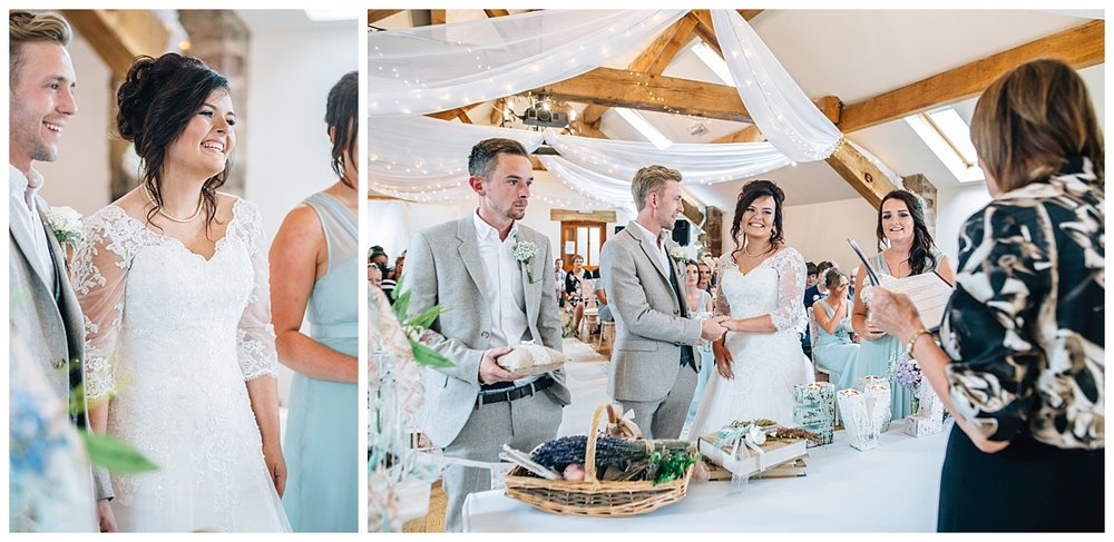 The bride and groom saying their i do's at bestow manor- lancashire wedding photography