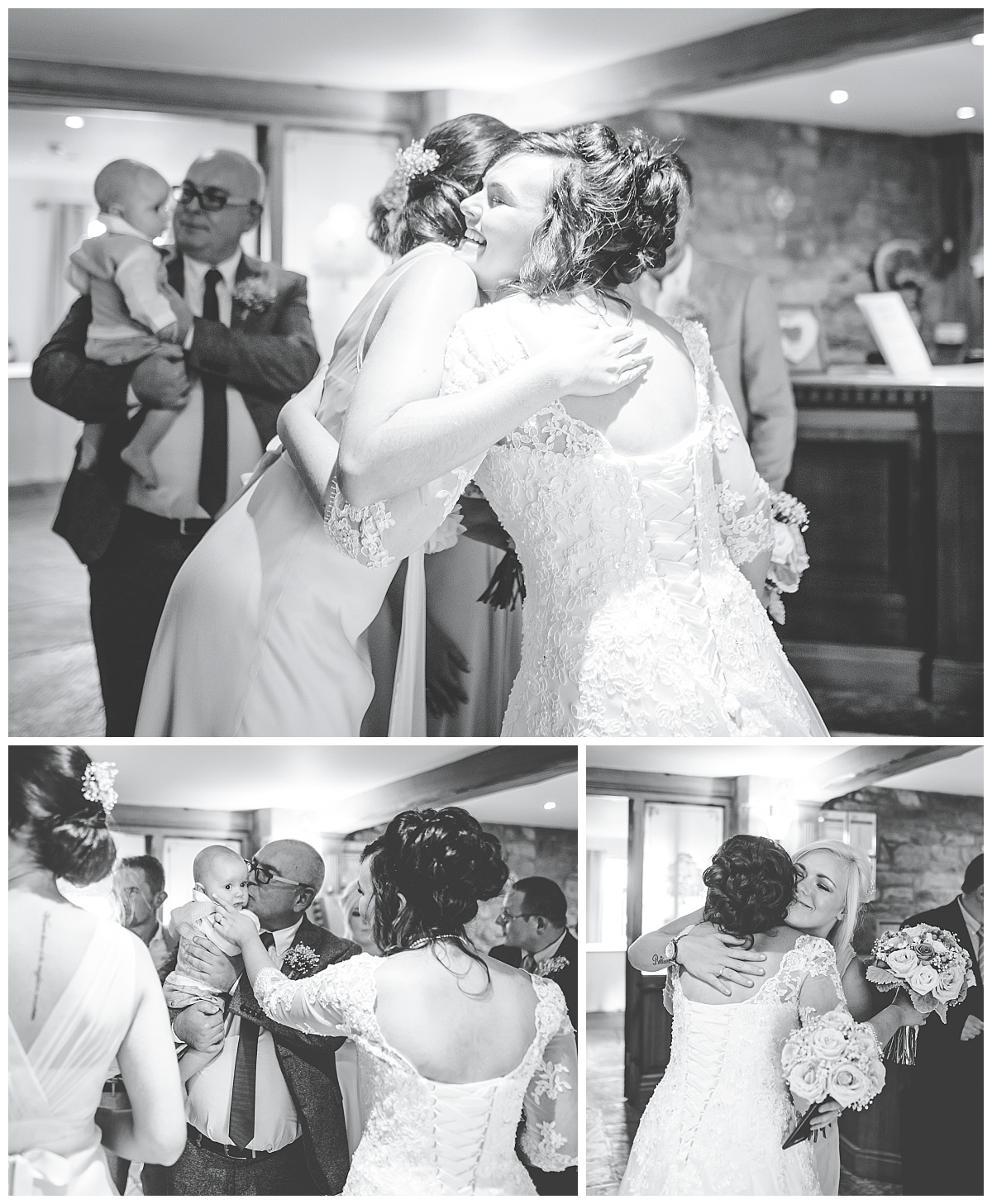 bride greets guests- documentary wedding photography Lancashire