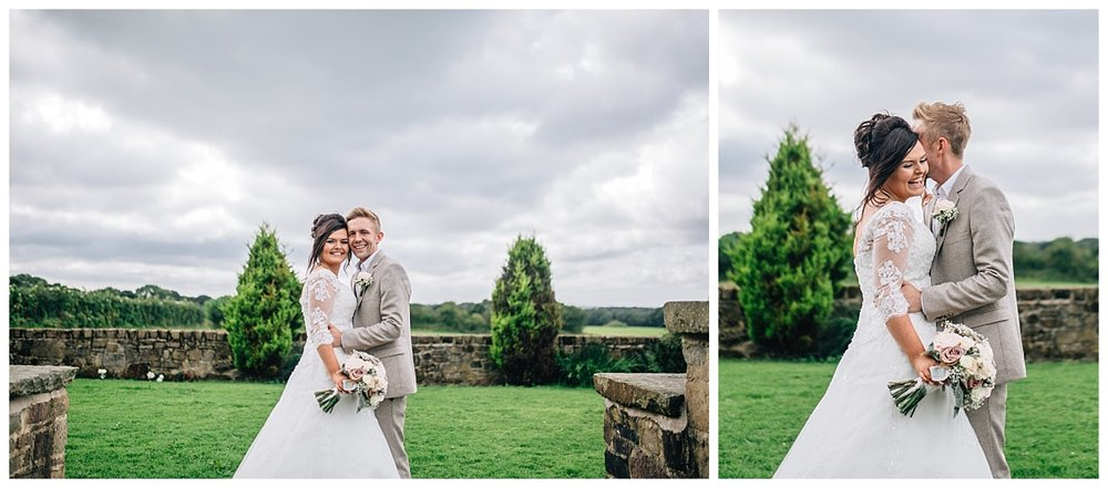 Collage of the bride and groom outside of bestow manor- Modern relaxed wedding photography in lancashire