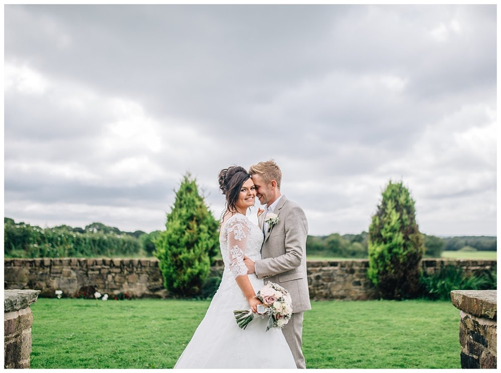 The bride and groom at bestow manor- Lancashire weddings