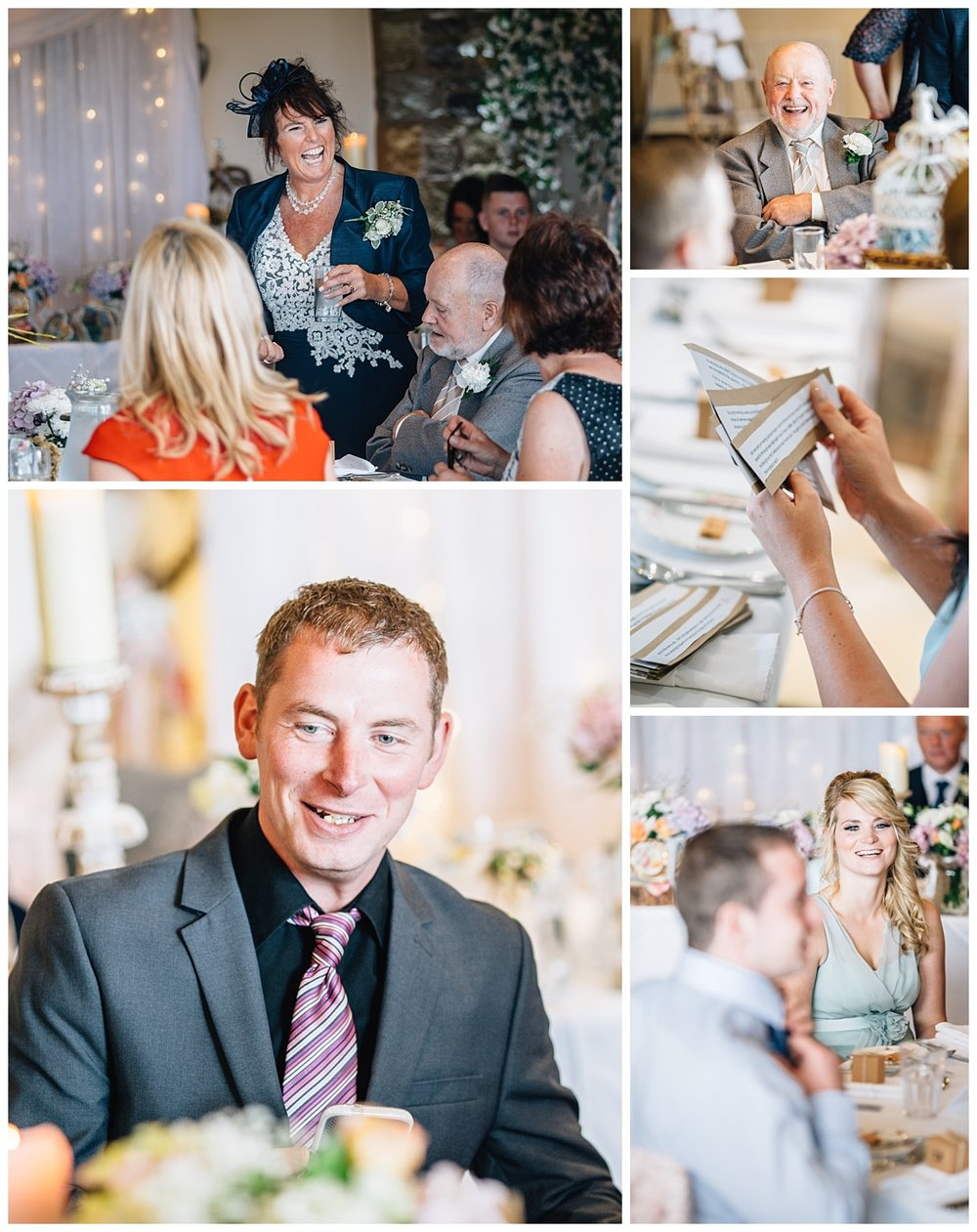 Collage of the wedding guests after the ceremony at Beeston Manor