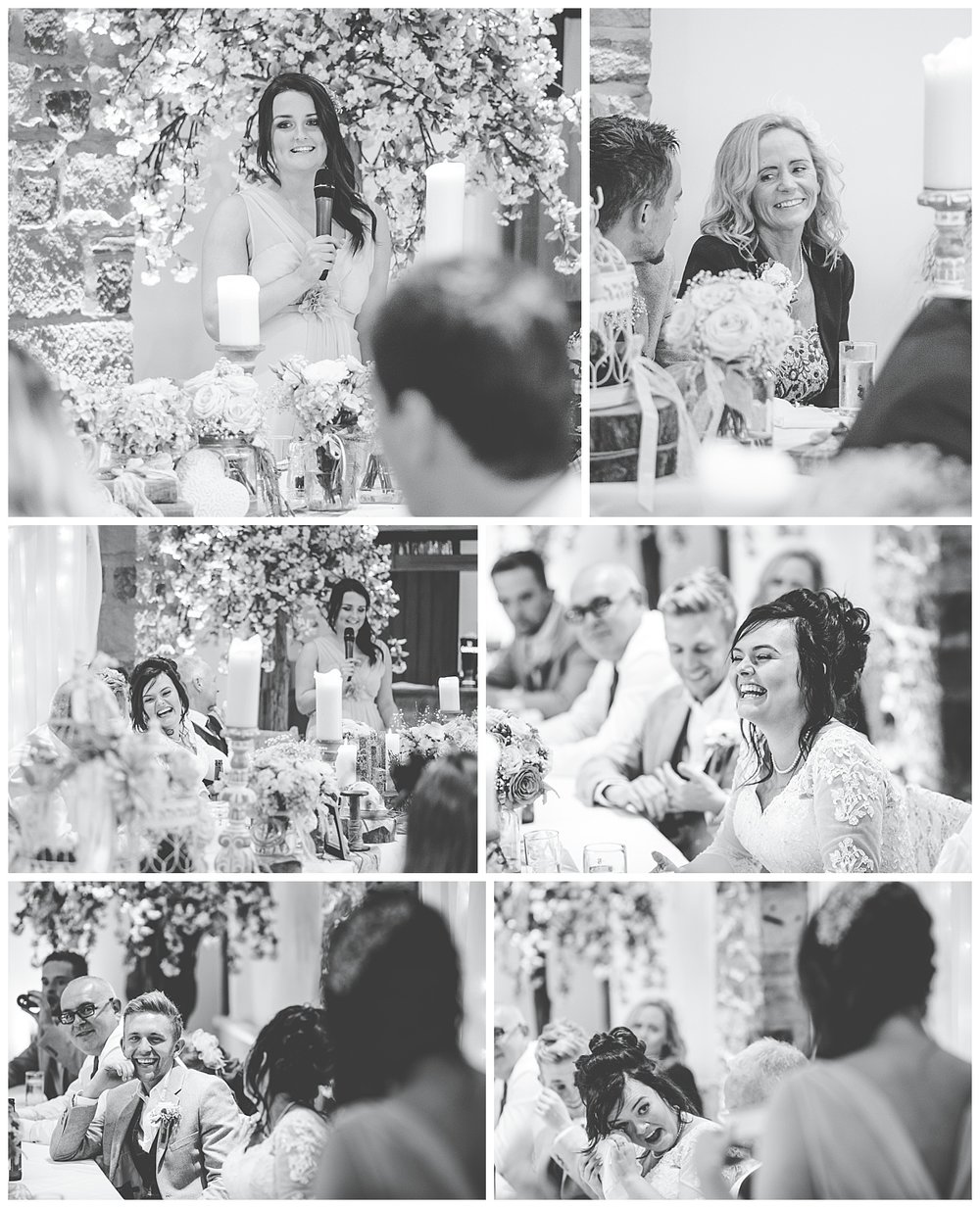 Collage of the bride saying a few words- Documentary styled wedding photography in lancashire