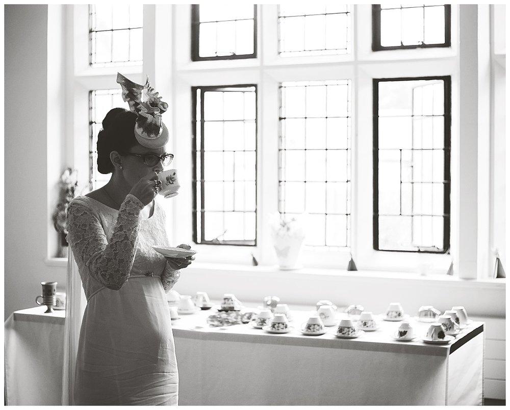 Haworth Art Gallery wedding - bride drinking tea