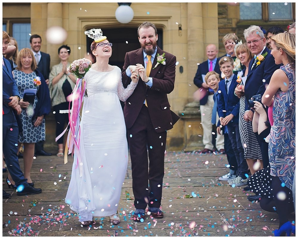 Confetti shot in Lancashire - Haworth Art Gallery Wedding