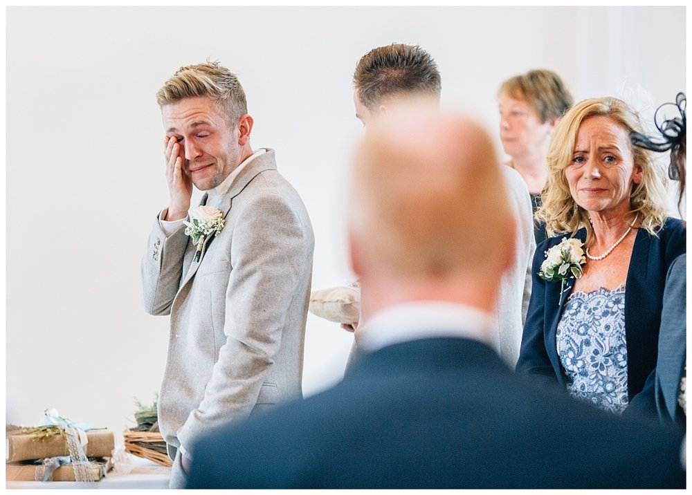 groom cries as he sees bride - beeston manor wedding