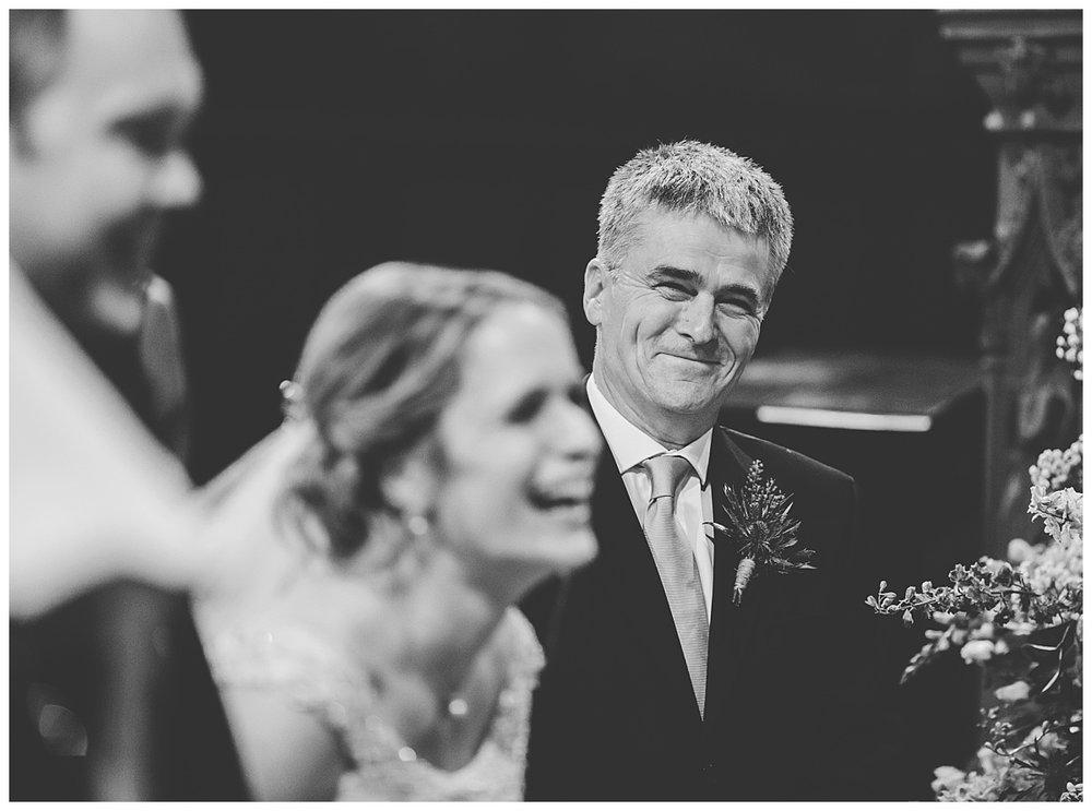 dad's emotional response at wedding in lancashire