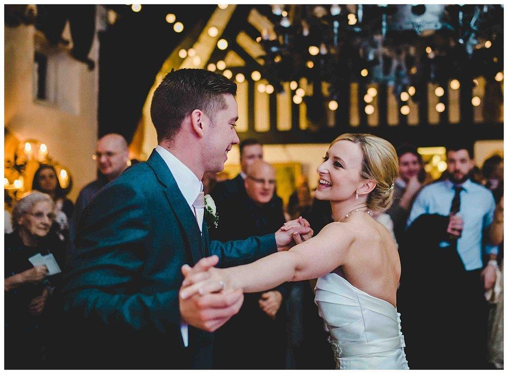 lancashire wedding photographer - bride and groom dance at samlesbury hall