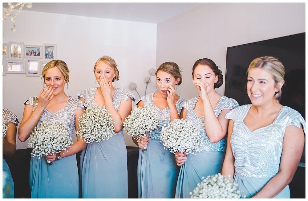 bridesmaid's reaction to the bride - manchester wedding photographer