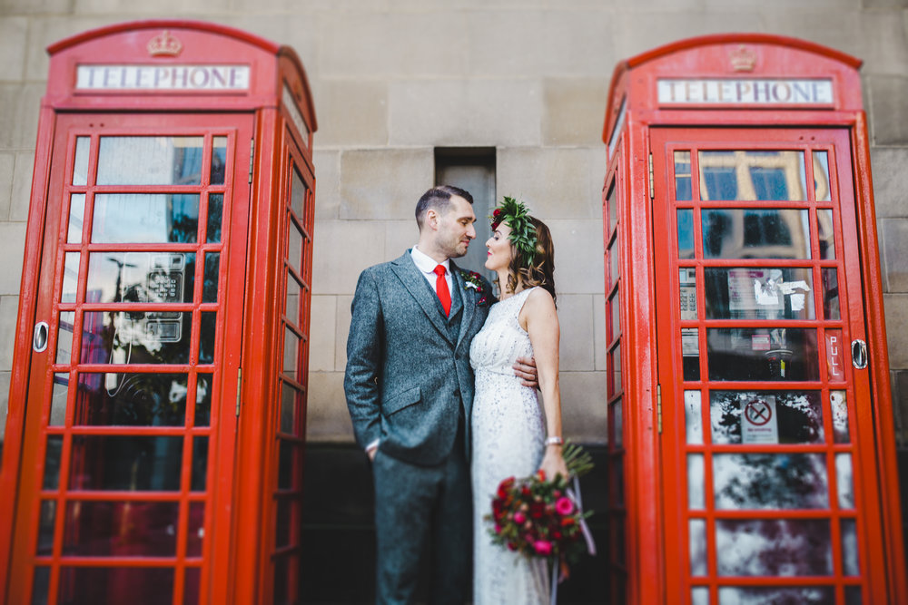 Manchester city centre wedding  - trendy bride and groom