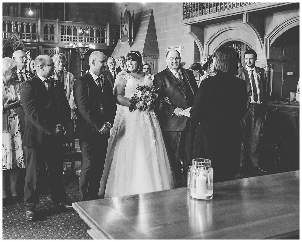 documentary black and white images of wedding ceremony in manchester city centre