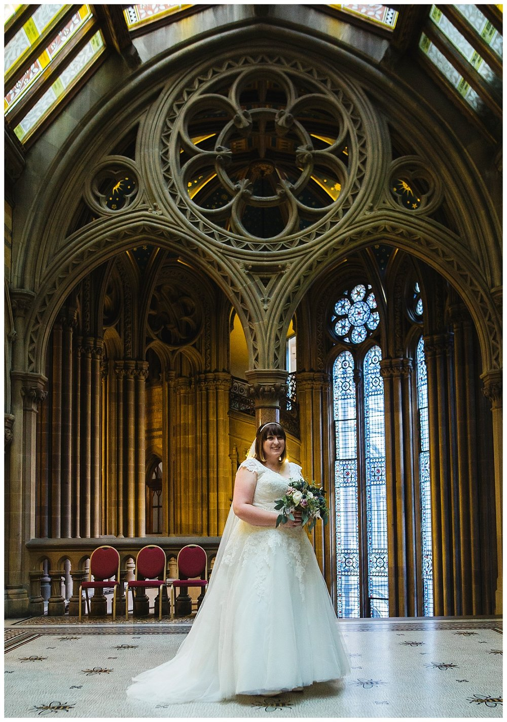 interior portrait of bride in manchester town hall